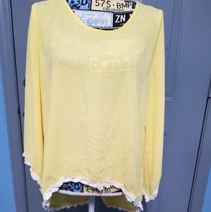 Umgee high/low yellow sheer blouse